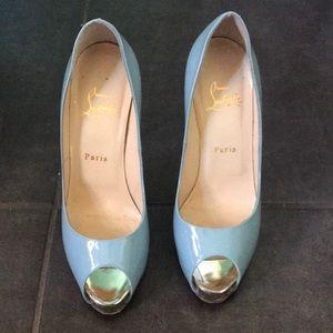 Louboutin Peep toe Platform Blue w Glitter Heel 39